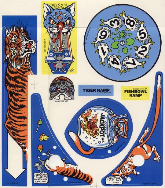 Bad Cats Pinball Machine CABINET Decal Set